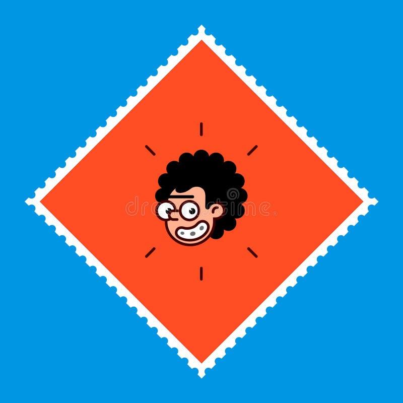 El personaje de dibujos animados es un friki en un estilo plano La imagen del vector se aísla en un fondo azul Logotipo de los te libre illustration
