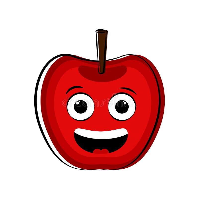 El personaje de dibujos animados feliz de la manzana emote libre illustration