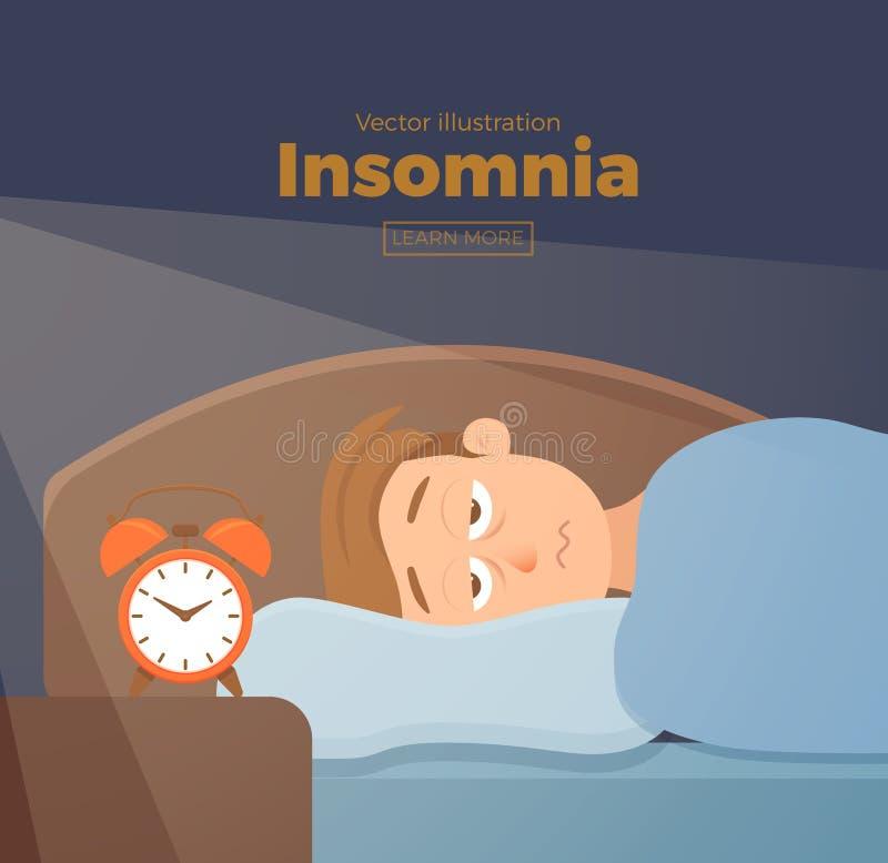 El personaje de dibujos animados insomne de la cara del hombre sufre de insomnio stock de ilustración