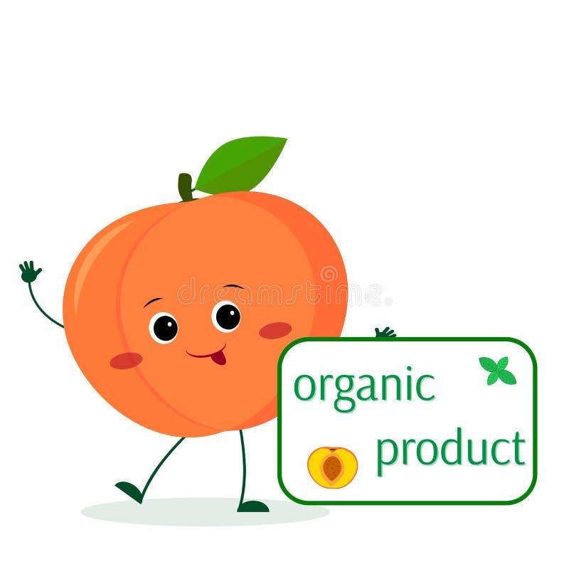 El personaje de dibujos animados lindo de la fruta del melocotón de Kawaii sostiene una placa de comidas orgánicas Logotipo, plan stock de ilustración