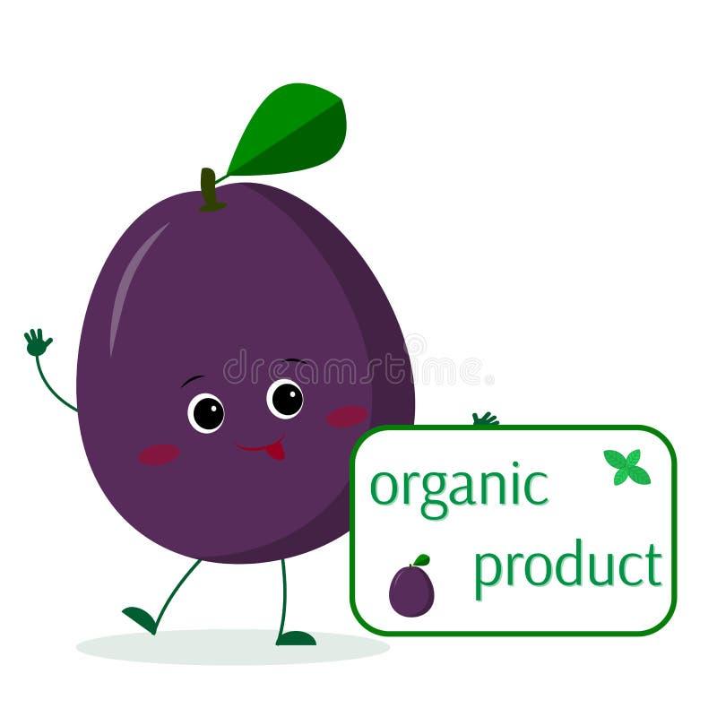 El personaje de dibujos animados púrpura lindo del ciruelo de Kawaii sostiene una placa de comidas orgánicas Logotipo, plantilla, stock de ilustración
