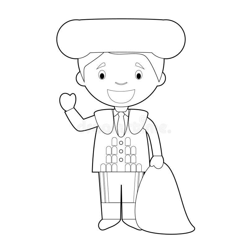 El personaje de dibujos animados que coloreaba fácil de España se vistió de la manera tradicional como torero Ilustraci?n del vec libre illustration