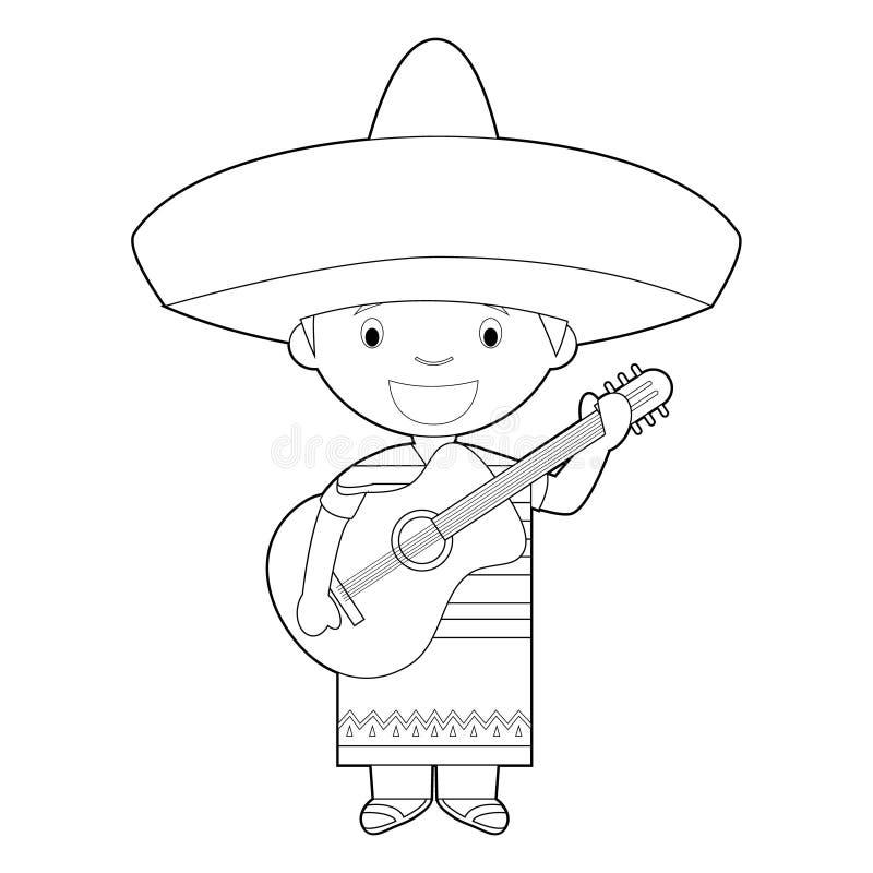 El personaje de dibujos animados que coloreaba fácil de México se vistió de la manera tradicional del cantante del mariachi con l stock de ilustración