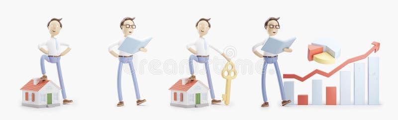 El personaje de dibujos animados se coloca con un libro, una pequeña casa, una llave y un infographics Sistema de los ejemplos 3d libre illustration