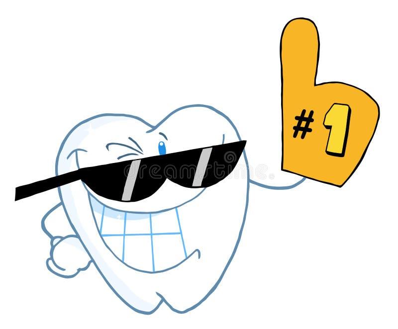 El personaje de dibujos animados sonriente del diente numera uno ilustración del vector