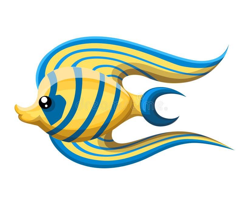El pescado aislado del río de la historieta de agua dulce del acuario pesca variedades de pescados populares ornamentales del col ilustración del vector