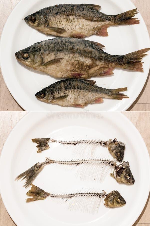 El pescado es entero y el pescado comido imagenes de archivo