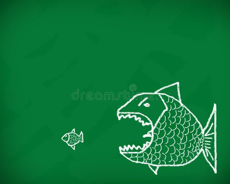 El pescado grande come el pequeño ilustración del vector