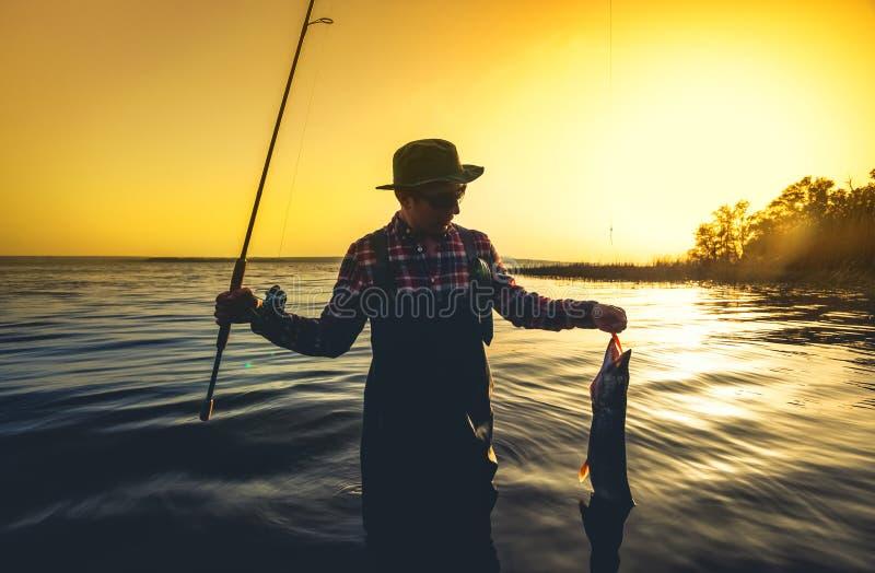 El pescador con una caña de pescar en su mano y un pescado cogido se opone en el agua a una puesta del sol hermosa imagen de archivo libre de regalías