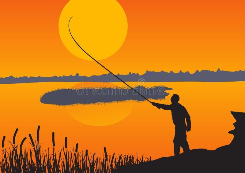 El pescador contra el sol de la tarde stock de ilustración