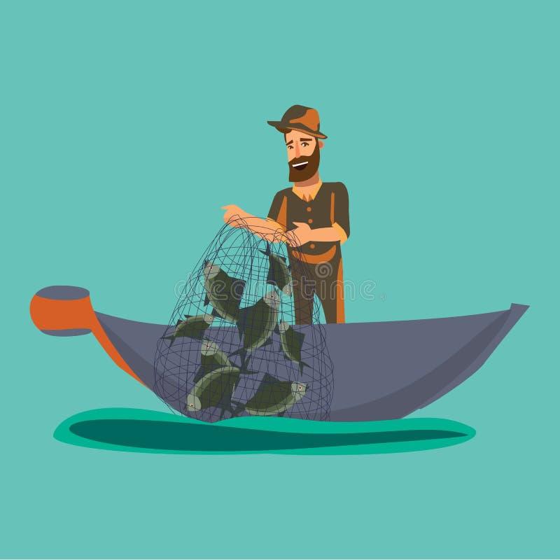 El pescador de la historieta que se coloca en sombrero y red de los tirones en el barco fuera del agua, fishman feliz celebra el  ilustración del vector