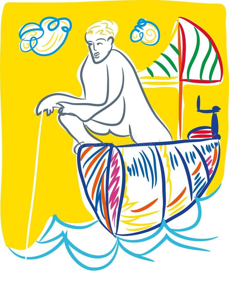 El pescador está pescando ilustración del vector