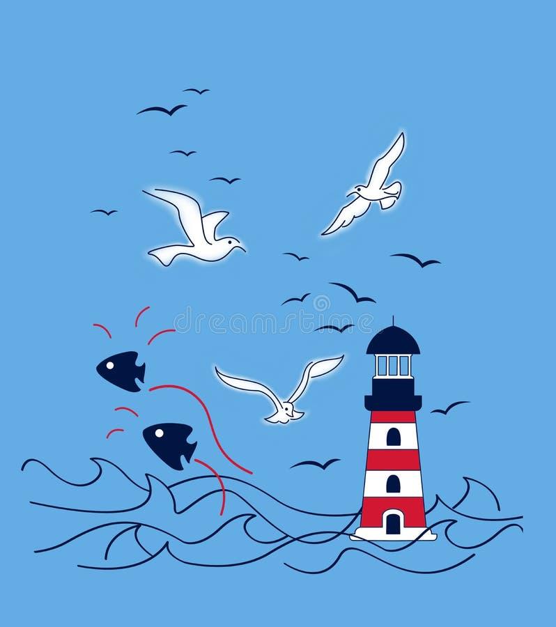 el pescador, los pescados y la gaviota figuraron el paisaje marino, gráfico de la camiseta ilustración del vector