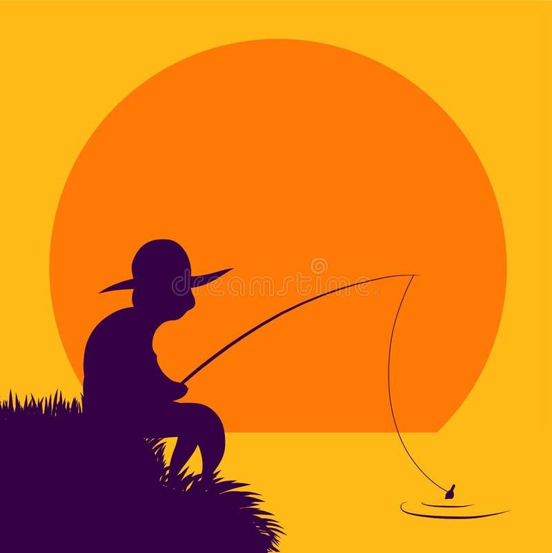El pescador solitario coge pescados libre illustration