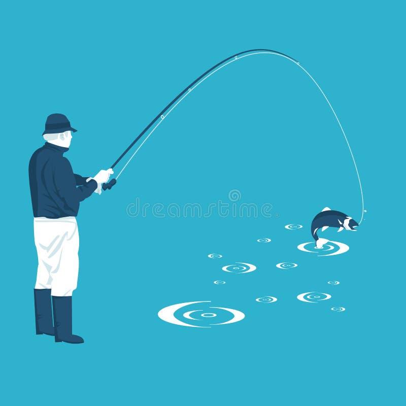 El pescador tira de la captura stock de ilustración