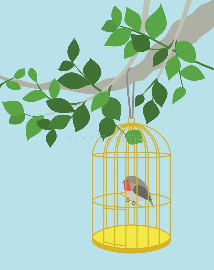 El petirrojo en la jaula que cuelga en la rama de árbol ilustración del vector