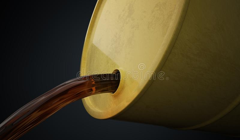 El petróleo o el aceite está vertiendo hacia fuera de barril amarillo 3D rindió la ilustración libre illustration