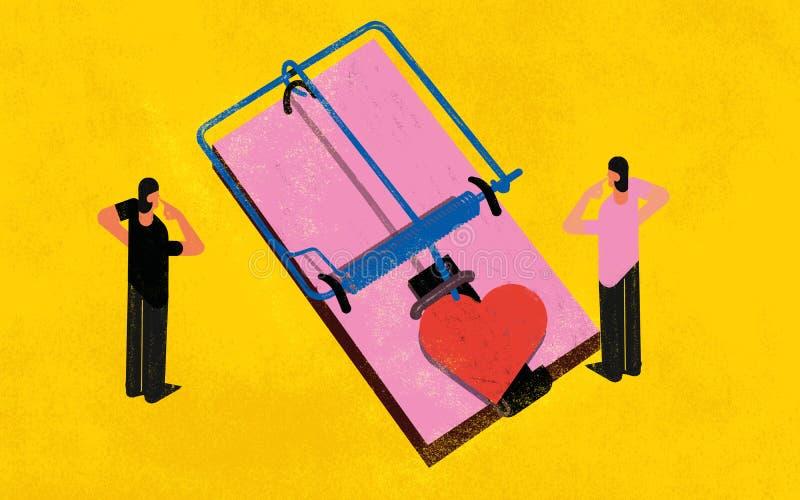 El phobe del compromiso ama el ejemplo del concepto de las relaciones stock de ilustración