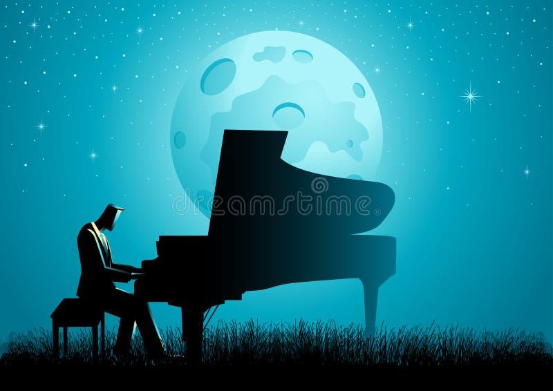 El pianista During Full Moon ilustración del vector
