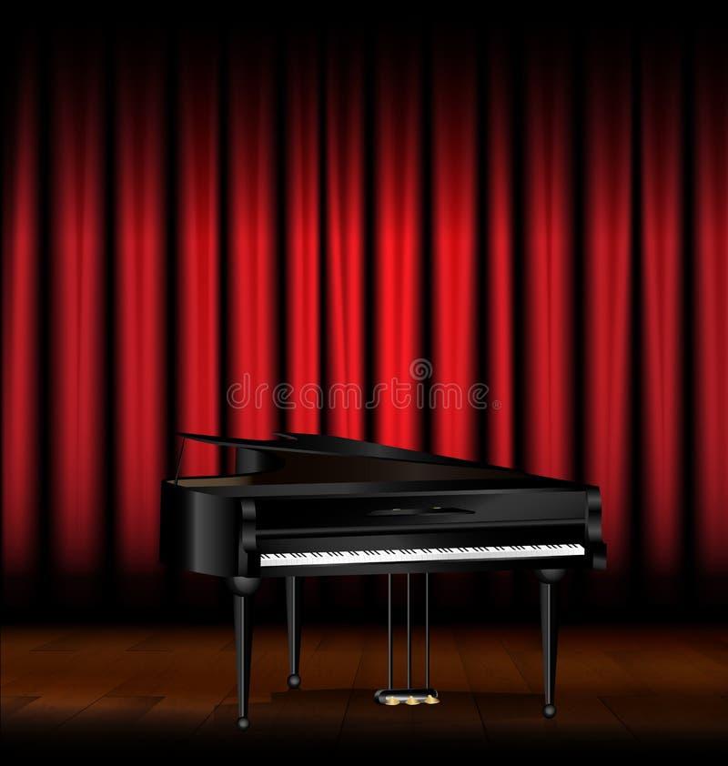 El piano y el rojo cubren stock de ilustración