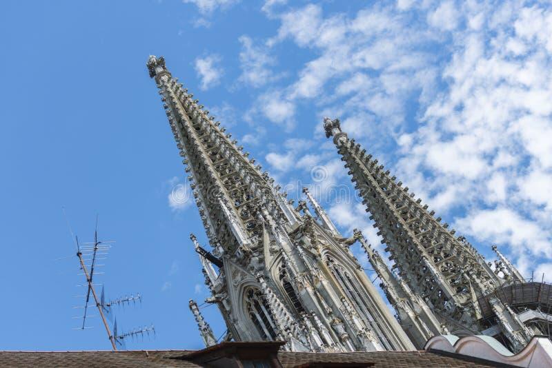 El pico de los dom en Regensburg foto de archivo