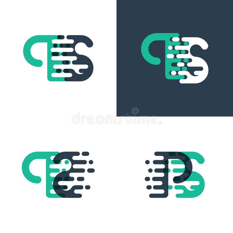 El picosegundo pone letras al logotipo con acento para apresurar en verde y azul marino stock de ilustración