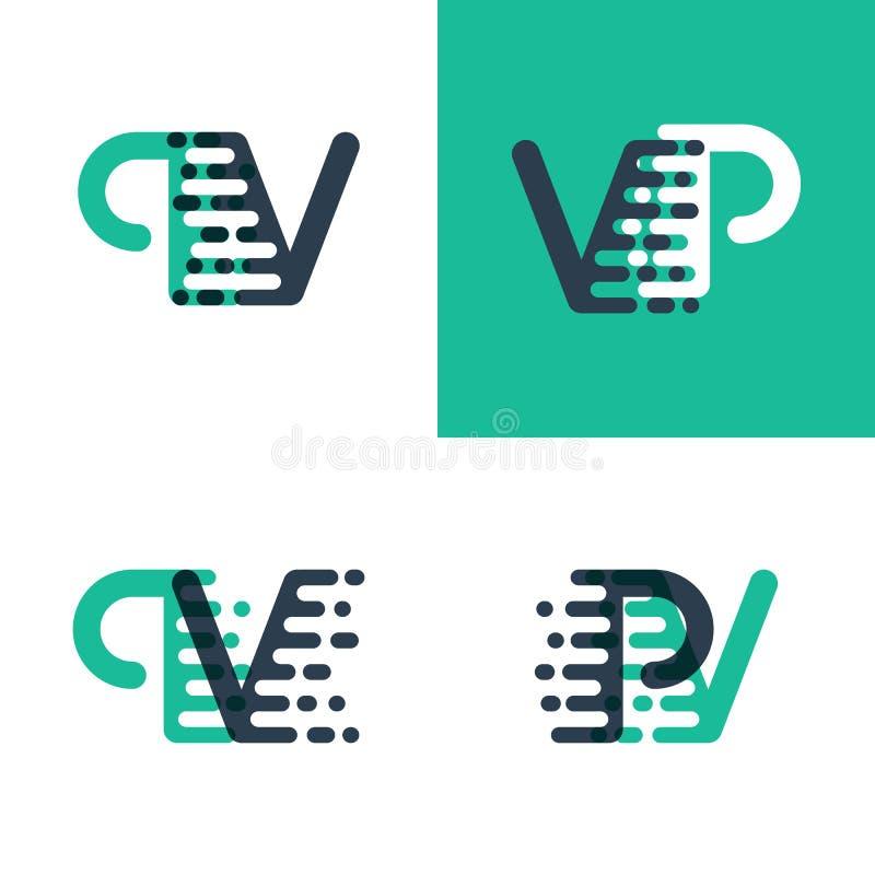 El picovoltio pone letras al logotipo con acento para apresurar en verde y azul marino libre illustration