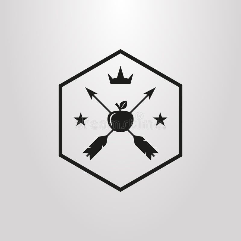 El pictograma simple del vector de dos flechas golpeó la manzana con las estrellas y la corona en un marco del hexágono ilustración del vector