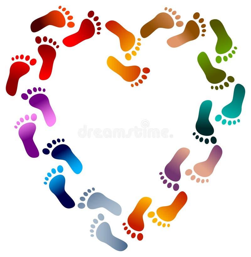 El pie imprime el corazón ilustración del vector