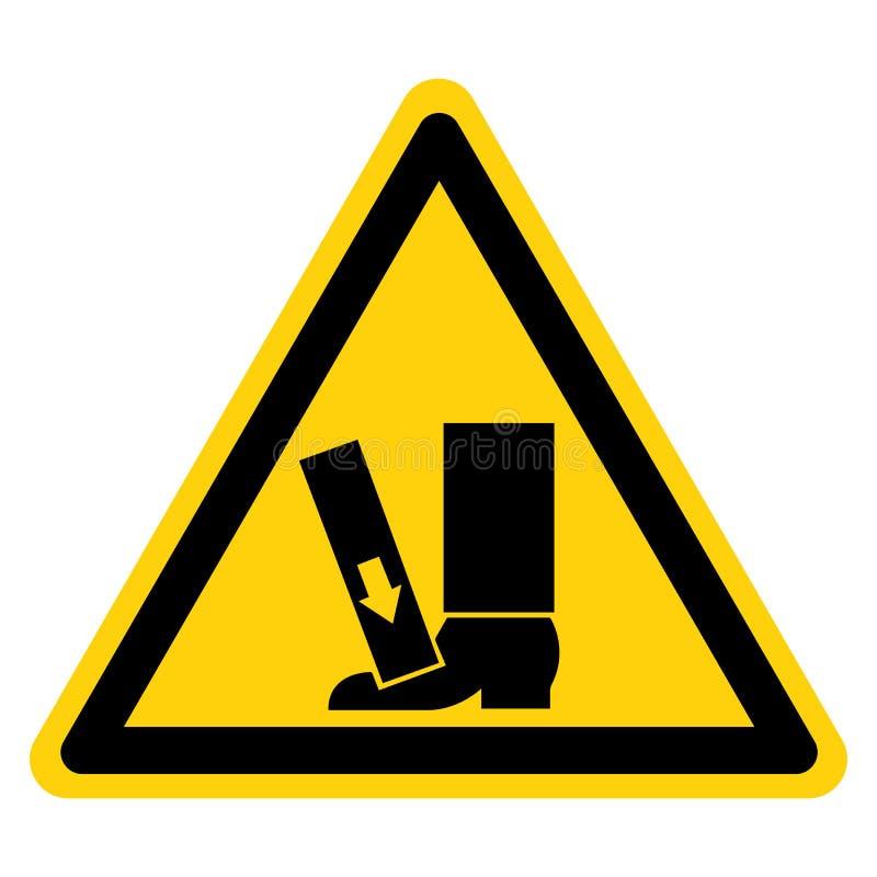 El pie machaca la fuerza desde arriba de la muestra del símbolo, ejemplo del vector, aislante en la etiqueta blanca del fondo EPS ilustración del vector