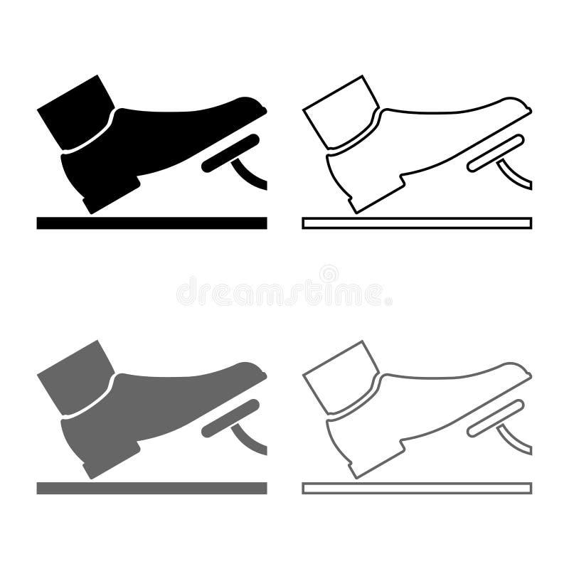 El pie que empujaba el icono auto del concepto del servicio del pedal de freno del acelerador del pedal fijó estilo plano de colo ilustración del vector