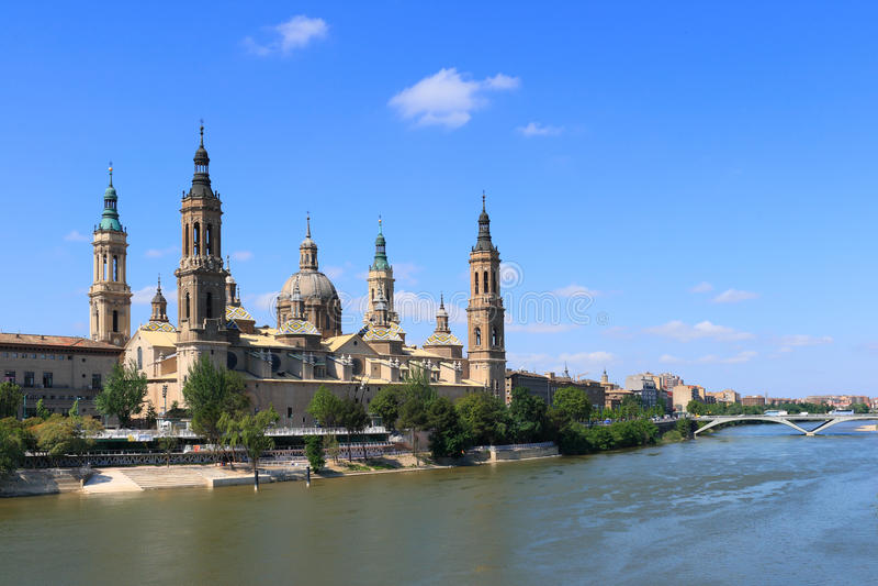 El Pilar Basilica (Zaragoza, Spain). El Pilar basilica by the Ebro River. (Zaragoza, Spain royalty free stock photos