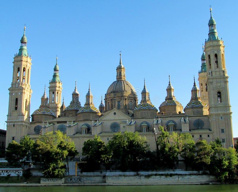 El Pilar Basilica in Zaragoza, Spain. El Pilar basilica Zaragoza, Spain. View of the Pilar Cathedral, Nuestra Senora del Pilar in Zaragoza, Aragon stock photo