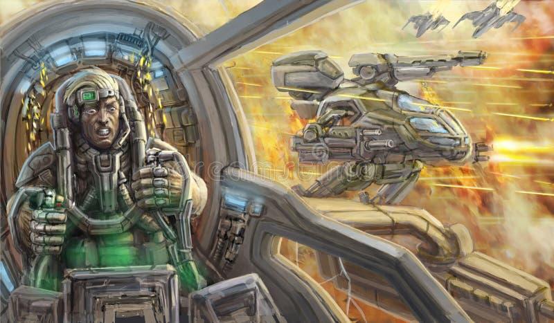 El piloto del robot del combate está luchando Clip art de la ciencia ficción stock de ilustración