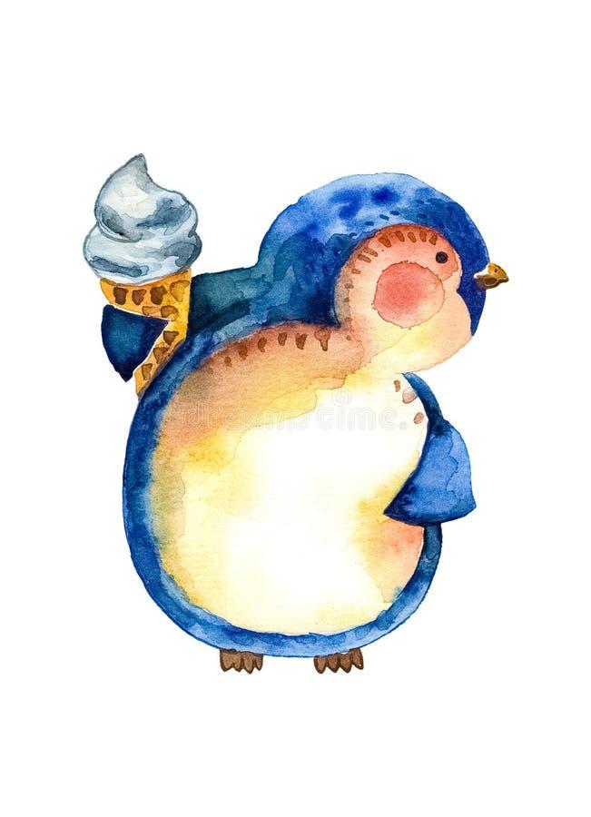 El pingüino de la historieta con un cono de la galleta del helado delicioso se está sosteniendo en su mano Fondo blanco libre illustration