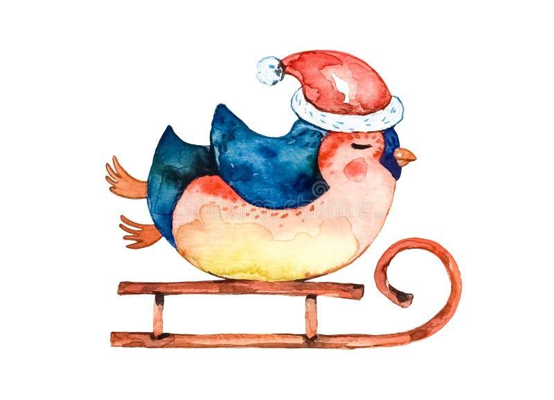 El pingüino de la historieta en un sombrero rojo, caliente monta un trineo del invierno Fondo blanco ilustración del vector
