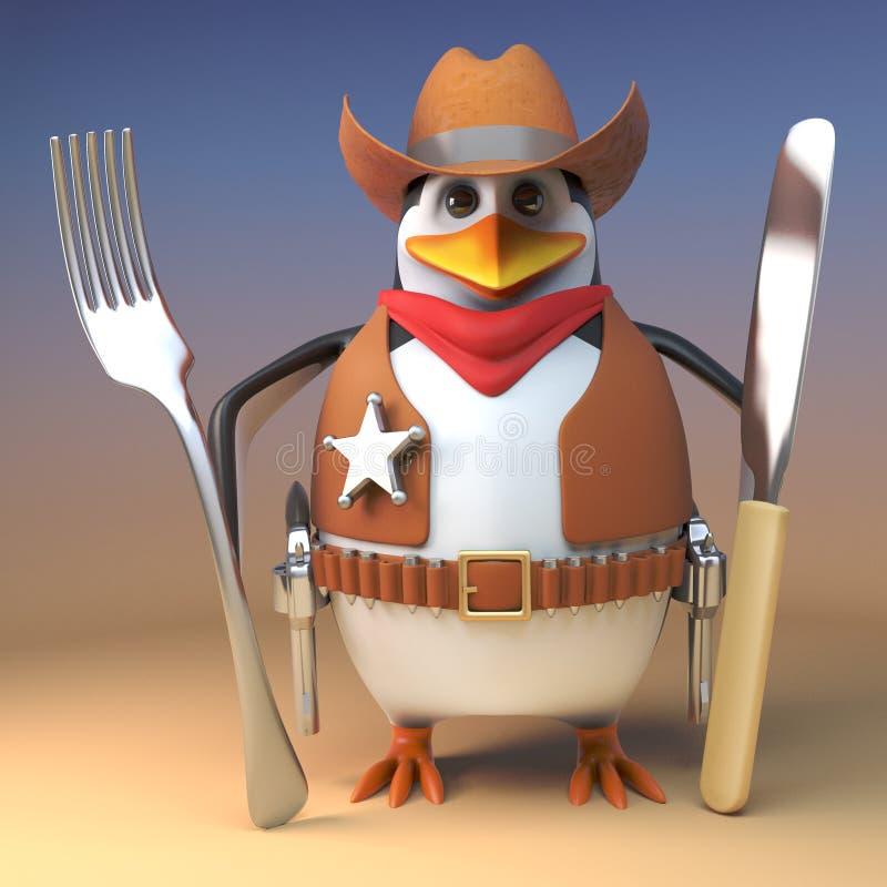 El pingüino del oeste salvaje hambriento del vaquero del sheriff sostiene su cuchillo y bifurcación listos para las habas, ejempl stock de ilustración