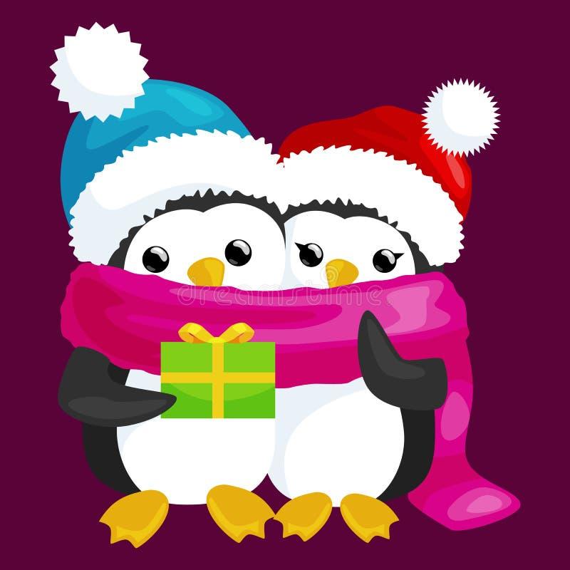 El pingüino lindo feliz de la Navidad dos en sombrero y la bufanda son una pila de regalos ilustración del vector