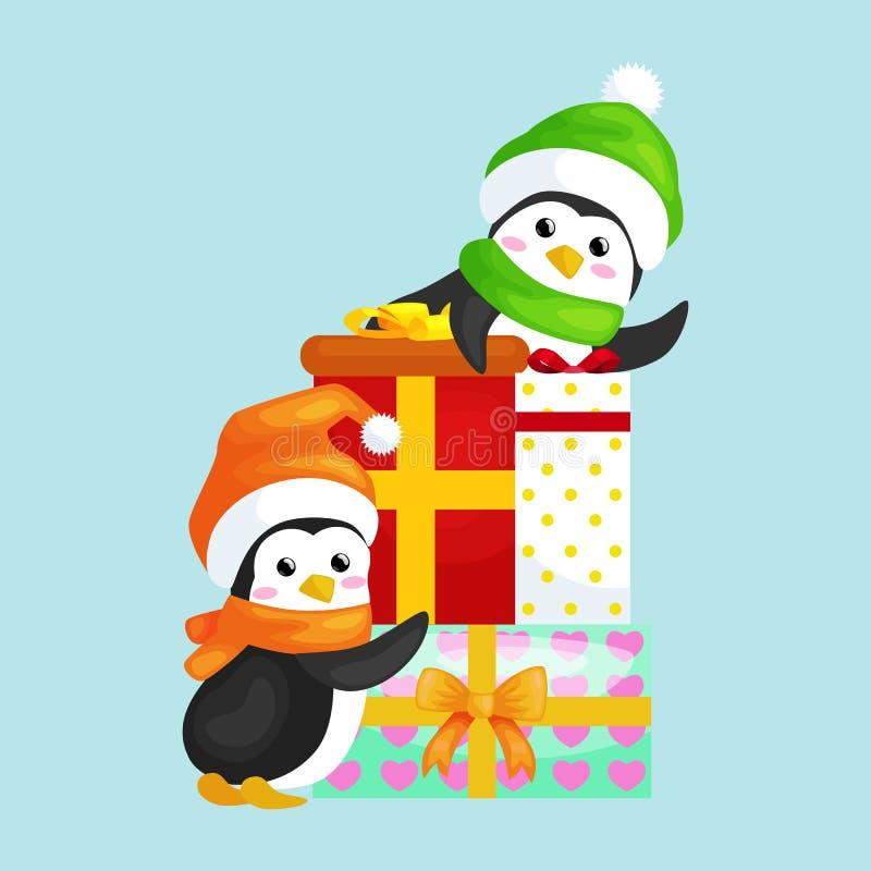 El pingüino lindo feliz de la Navidad dos en sombrero y la bufanda son una pila de regalos de la Navidad ilustración del vector