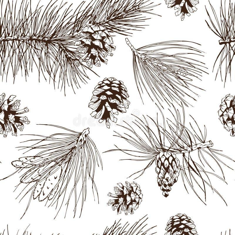 El pino ramifica modelo inconsútil ilustración del vector