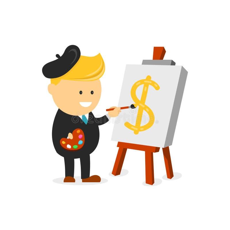 El pintor del artista del hombre de negocios dibuja una muestra de dólar en lona el concepto creativo del negocio crea sus finanz stock de ilustración