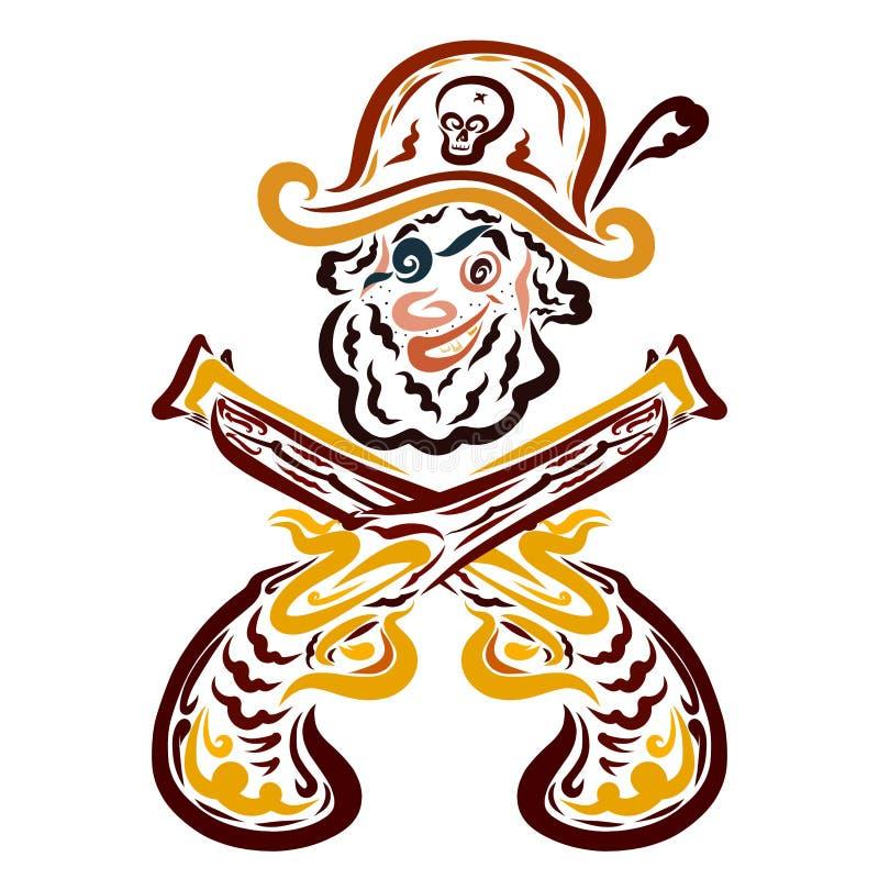 El pirata barbudo con un ojo y dos cruzaron las pistolas libre illustration