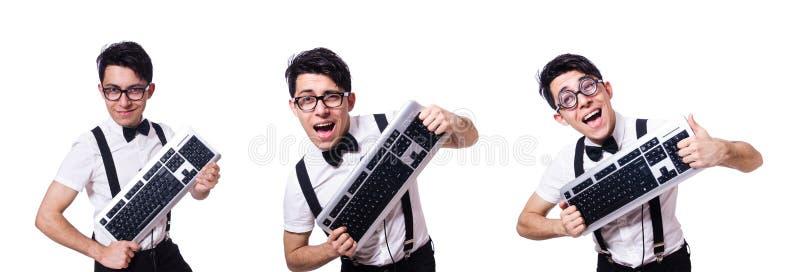 El pirata informático del empollón con el teclado de ordenador en blanco fotografía de archivo