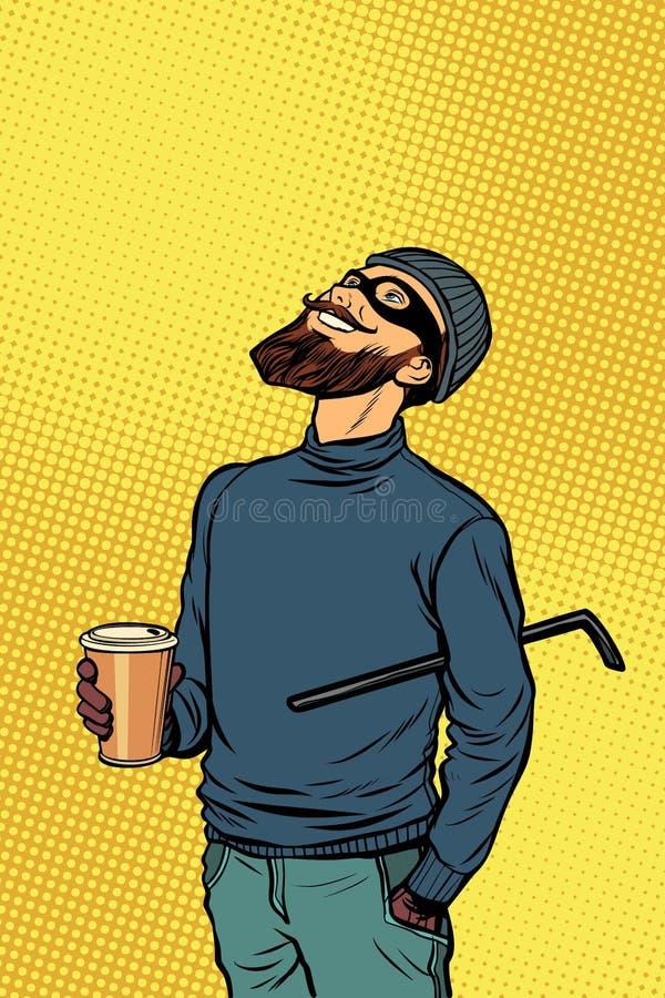 El pirata informático del ladrón del ladrón bebe el café y mira para arriba ilustración del vector