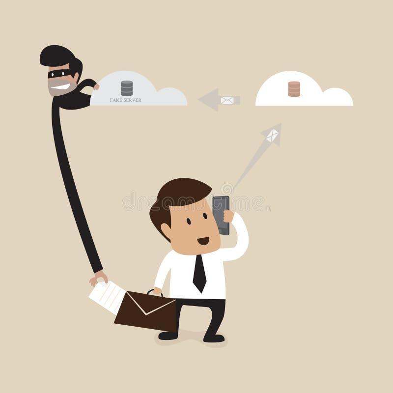 El pirata informático está robando al hombre de negocios de la forma de datos ilustración del vector