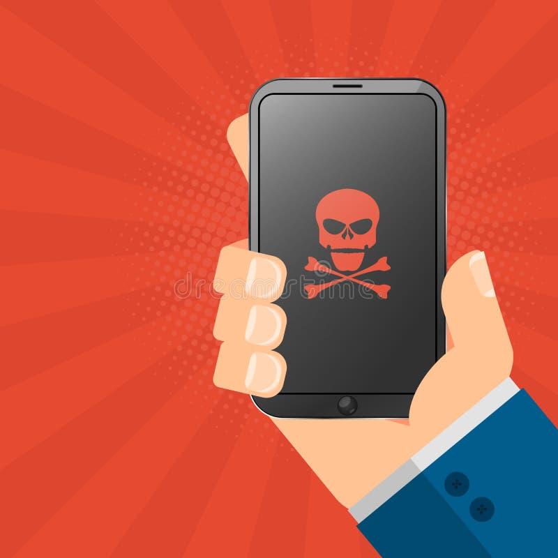 El pirata informático está sosteniendo un artilugio cortado en sus manos Smartphone de alta tecnología electrónico del teléfono P libre illustration
