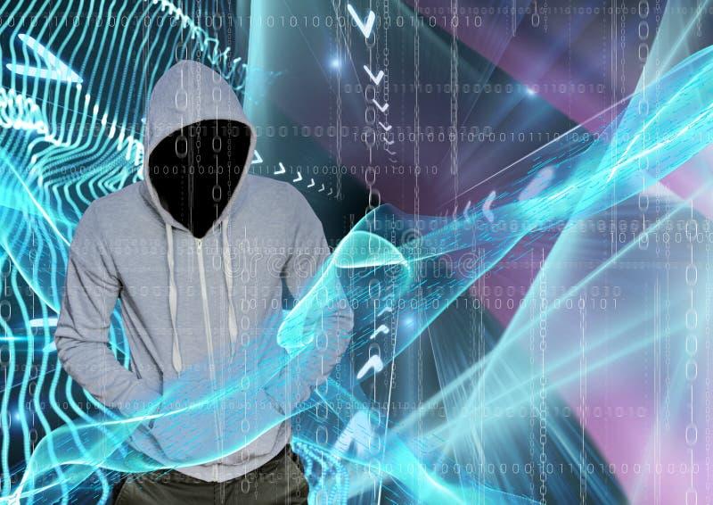 El pirata informático gris del puente con hacia fuera hace frente con sus manos en sus bolsillos, luces azules y rosadas y código libre illustration