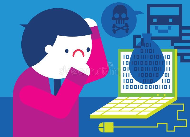 El pirata informático roba datos ilustración del vector