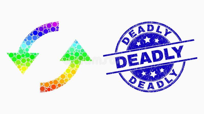 El pixel del espectro del vector restaura el icono de las flechas y la filigrana mortal rasguñada stock de ilustración