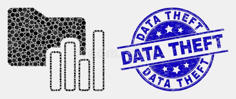 El pixel del vector traza la filigrana del hurto del icono de la carpeta y de los datos de la desolación ilustración del vector